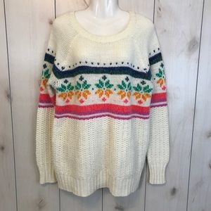 American Eagle Cream Snowflake Tunic Sweater
